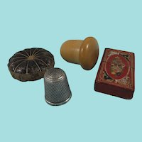 Tooled Leather Needle Case, Vegetable Ivory Thimble Holder & Thimble + Leather Pumpkin Pin Cushion