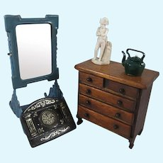 Nice Group Old Doll House Miniatures – Chest of Drawers, Mirror, Carved Statue Etc
