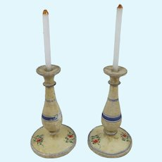 Lovely Pair Erzgebirge Doll House Painted Wooden Candlesticks With Glass Candles