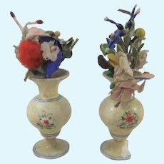 Pair Erzgebirge Doll House Painted Wooden Vases