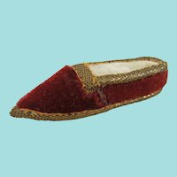 Charming Red Velvet Slipper Pin Cushion, 2 ¾ Inches