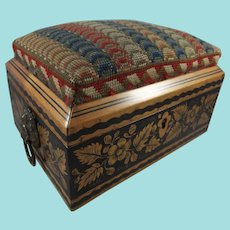 Stunning Whitewood Pen Work Sewing Box With Wool Work Top