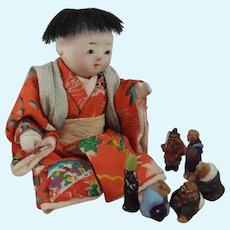 Vintage Japanese Boy Doll, 4 Inches, + Six Miniature Japanese Figurines
