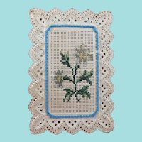 Bristol Card Needle Book With Cross Stitch Flowers & Beaded Border