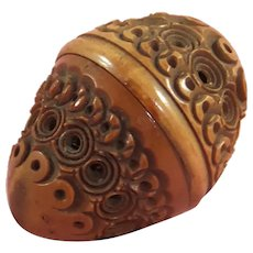 Gorgeous Small Coquilla Nut Thimble Holder + Brass Thimble