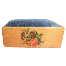 Rectangular Floral Decorated White Wood Pin Cushion
