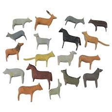 18 Painted Wooden Erzgebirge Animals