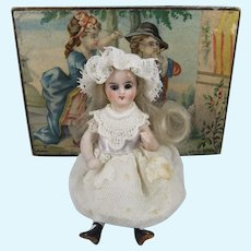 Pretty All Bisque Glass-Eyed Mignonette, 3 ½ Inches, In Lovely French Box