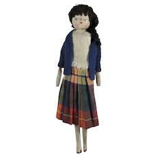 Girl Grodnertal Doll, 10 ½ Inches, Dressed In Circa 1950s Outfit