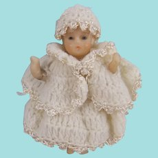 Miniature Wax Baby Doll, 4 Inches, Fully Clothed