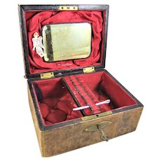 Pretty Carved Leather Sewing Box With Gold Tooled Frieze & Crimson Interior