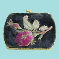 August Klein of Paris Coin Purse Featuring Stunning Floral Relief