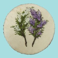 Beautiful Silk Pinwheel Embroidered with White & Purple Heathers