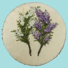 Beautiful Silk Pinwheel Embroidered with White & Purple Heathers