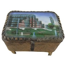 Small Metal Casket with Bevelled Glass Lid Featuring Image of the Crystal Palace