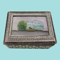 Pretty Mirror Top Needle Packet Box With Internal Concertina