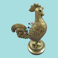 Charming Rare Gilt Novelty Cockerel Pin Cushion