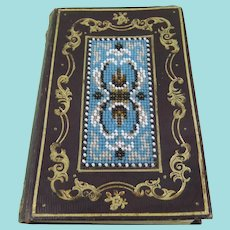 Victorian Leather & Gilt Tooled Notebook with Beadwork Panels
