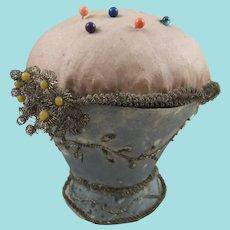 Vase-Shaped Regency Silk Pin Cushion