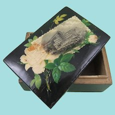 Small Mauchline Black Lacquer Box Crystal Palace Souvenir