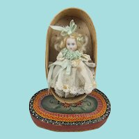 Sweet Miniature All Bisque Doll, 3 ¼ Inches, In Painted Oval Bentwood Box