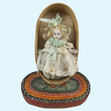 RESERVED FOR PETRA Sweet Miniature All Bisque Doll, 3 ¼ Inches, In Painted Oval Bentwood Box