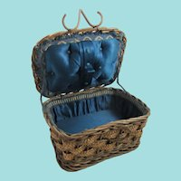 Small 19th Century Sewing Basket With Blue Silk Interior