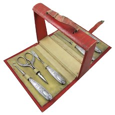 Ladies Companion Fitted With Sterling Silver Sewing Tools & Other Accessories