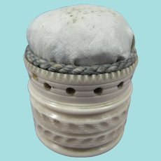 19th Century Cylindrical Pin Cushion With Blue Silk Top
