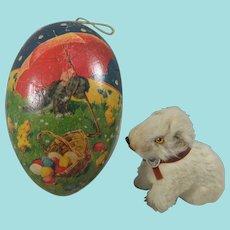Vintage Papier Mache Easter Egg & Miniature Fur Dog