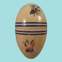 Pretty Painted Wooden Egg Decorated With Flower Transfers