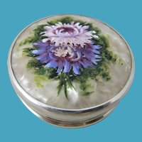 1928 Sterling Silver & Hand Painted Mother of Pearl Compact