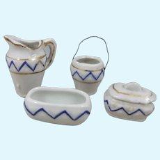 Miniature Porcelain Toilette Set – Jug, Slop Pail. Soap & Sponge Dish