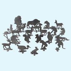 Charming Collection of 23 Vintage Flat Metal Animal Miniatures