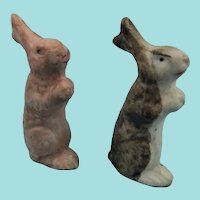 Two Cute Miniature Hollow Bisque Rabbits