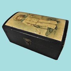 Sweet Small Mauchline Black Lacquer Box With Clark & Co Sewing Cottons Label