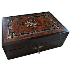 Pretty 19th Century Wooden Jewellery/Sewing Box With Fitted Interior & Key