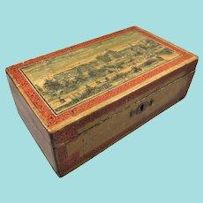 'Crystal Palace, Sydenham' Wooden Sewing Box, 8 ½ Inches
