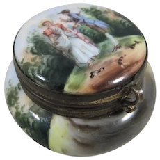 Pretty Continental Porcelain Pill/Patch Box With Mirror Inside Lid