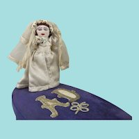 Gorgeous Vintage Peg Doll Bride in Plush-Covered Box