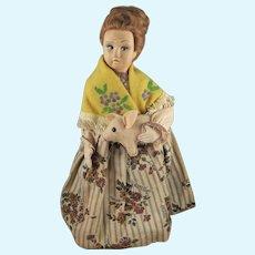 Gorgeous Vintage Lenci Type Doll Carrying Felt Piglet