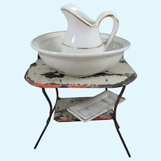 Antique Miniature Tinplate Washstand + Jug, Bowl & Soap Dish