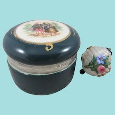 Pretty Glass Bauble Pendant Inside Porcelain Trinket Box With 1904 Sterling Silver Mount