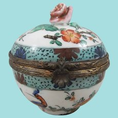 Faux Sevres Hinged Porcelain Trinket Box With Rose Finial, 2 ¾ Inches Wide