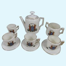Miniature Porcelain Tea Set With Dublin Crest On Each Piece