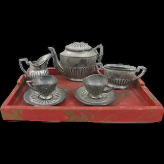 Antique Miniature Metal Tea Set on Wooden Tray