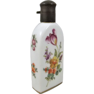 Small Pretty Hand Painted Dresden Porcelain Perfume Bottle