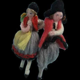 Pair Miniature Stefania Lazarska Yarn Dolls, Circa 1925