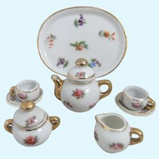 Pretty Miniature Porcelain Tea Set for Mignonette, Fashion Doll or Dollhouse