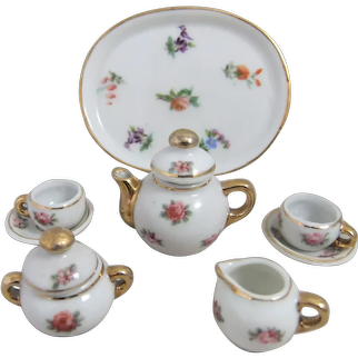 Pretty Miniature Porcelain Tea Set for Mignonette, Fashion Doll or Dollhouse